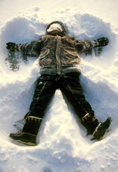 A snow angel in Power Ranger boots