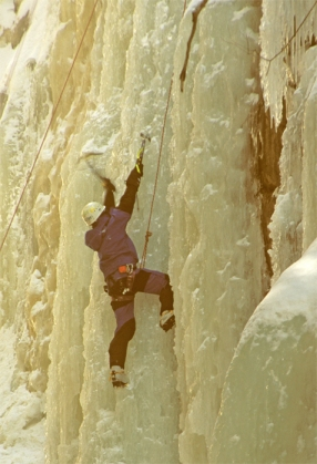 Ice climbing a Franconia Notch cliff. Brrrrrrrrrrr!