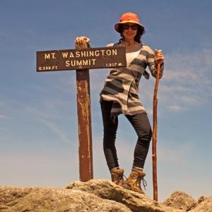 Hiker on Mt. Washington Summit, Appalachian Trail, New Hampshire