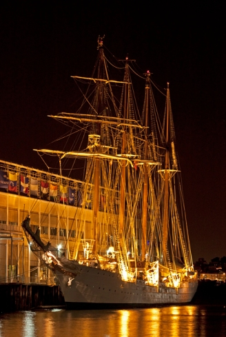 Juan Sebastian de Elcano Sailing Vessel at Night, Spanish Naval