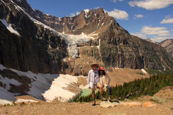 Here we stand before the angel Glacier on Mount Edith Cavell. the peak was named for the WWI heroine. http://en.wikipedia.org/wiki/Mount_Edith_Cavell