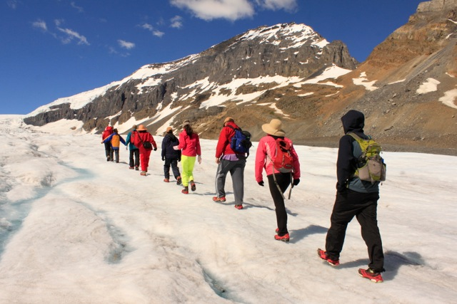 Hiking on the Athabasca Glacier in Jasper National Park of Alberta, Canada