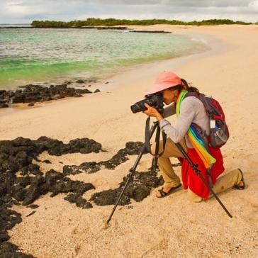 Author taking photos on Playa Las Bachas, Santa Cruz Island