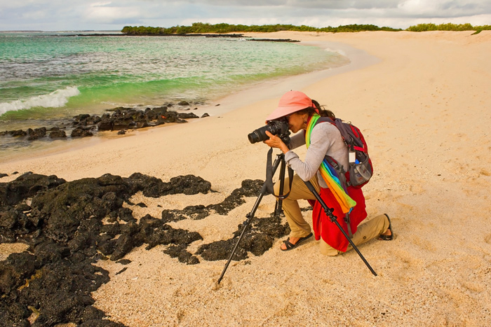 Author taking photos on Playa Las Bachas, Santa Cruz Island